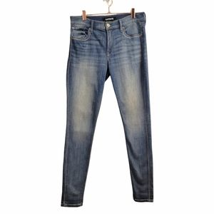 Express | Mid Rise Ankle Legging Skinny Jeans Stitching Medium Wash